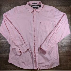 Volcom Tailored Shirts Size Large Pink Button Up